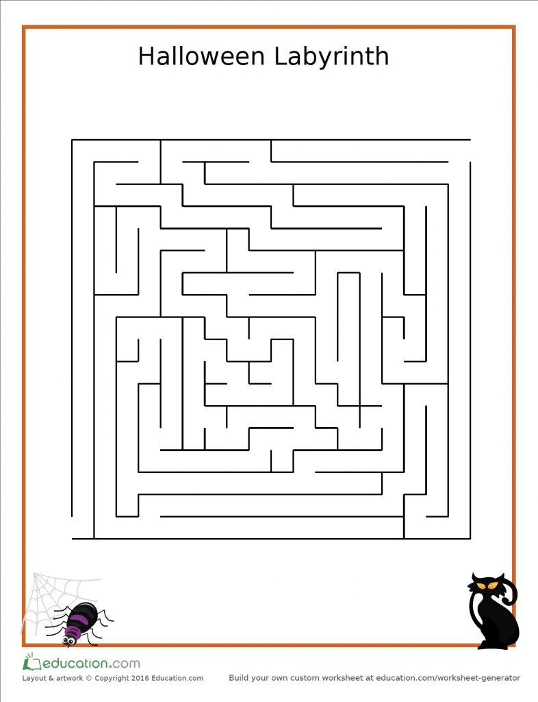 Workbooks www education com worksheets answer key : Halloween Labyrinth Maze ⋆ Felipe Femur